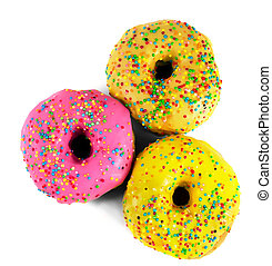 Donut with colorful icing isolated on white background.