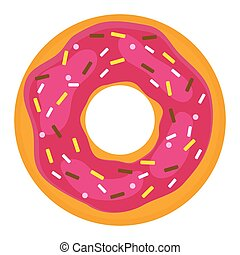 Donut with confectionery on a white background