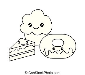 donut with cupcake and cake kawaii character