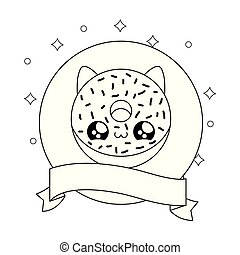 donut with face cat in frame circular and ribbon kawaii style