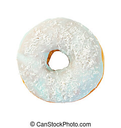 Donut with frosting is light blue and coconut