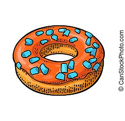 Donut with icing and sprinkles. Vector color engraving