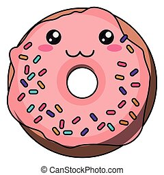 Donut with kawaii face design