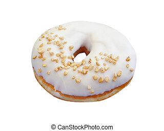 donut with nuts on a white background