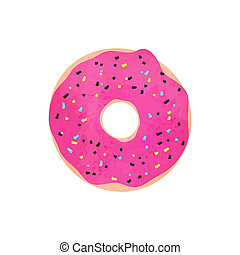 Donut with pink glazed isolated on white
