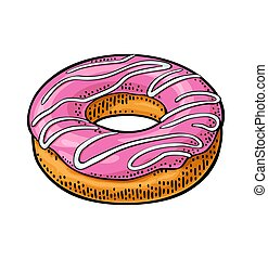 Donut with pink icing and white stripes. Vector color engraving