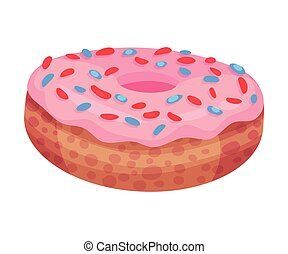 Donut with pink icing. Vector illustration on a white background.