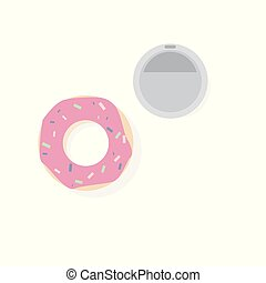Donut with pink icing with a glass of coffee on a white background