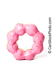 Donut with Pink on a White Background