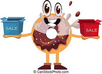 Donut with sale boxes, illustration, vector on white background.