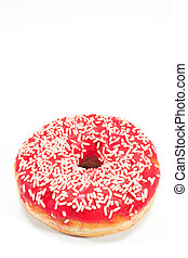Donut with sprinkles isolated on white