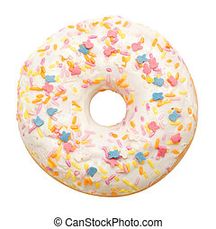 Donut with white icing colored topping, isolated