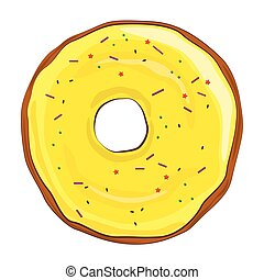 Donut with yellow icing on white background.