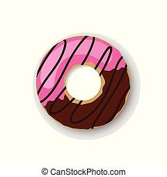 donuts, abbildung, eins, vektor, nachtisch, lieb