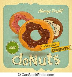 donuts, achtergrond, ouderwetse