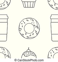 donuts and coffee seamless on a white background