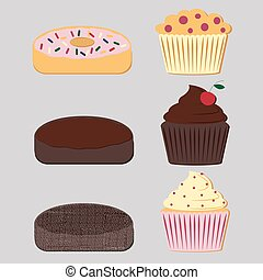 Donuts and muffins set