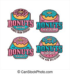 Donuts badge  vector design collection