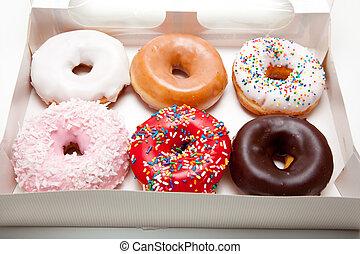 donuts, biały, dobrany