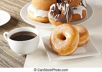 donuts, bohnenkaffee, schwarz, selbstgemacht, frisch