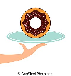 donuts, bricka, räcka lämna