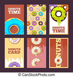 donuts cards. glazed sweet hot ring holiday cakes for breakfast sprinkles posters