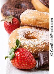 donuts, cioccolato, fragole, fresco