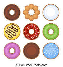 Donuts Collection Icons Set on White Background. Vector