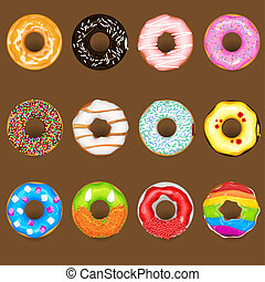 An Illustration Of Donuts with various topping. Useful As Icon, Illustration And Background For Food Theme.
