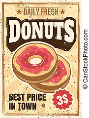 Donuts colored vintage advertising poster