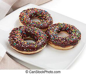 donuts, com, chocolate, ligado, um, prato