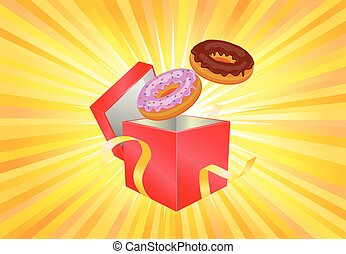 Donuts coming out of the gift box vector icon