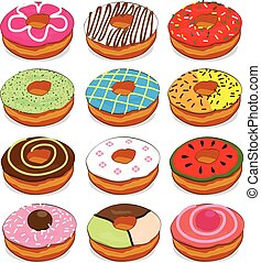Donuts cute Collection Set on white background