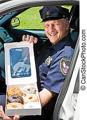 donuts, -, důstojník, box, kontrolovat