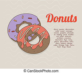 donuts design - donuts design over beige background vector...