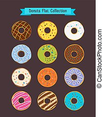 Donuts flat icons. Donut and coffee shop vector elements