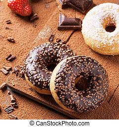 donuts, fragole, fresco, cioccolato