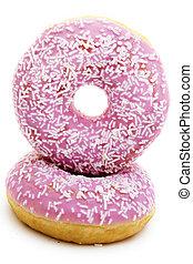donuts, freigestellt, in, hintergrund, weißes