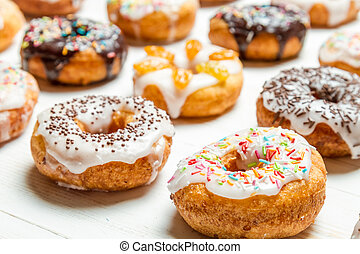 donuts, grupo, colorido, glazed
