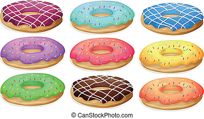 Donuts - Illustration of a set of donuts