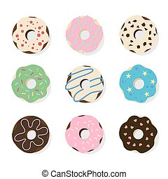 Donuts illustrations set. Colorful glazed donuts with...