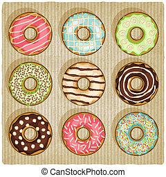 donuts, listrado, retro, fundo
