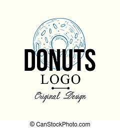 Donuts logo original design, retro emblem for bakery shop, cafe, restaurant, cooking business, brand identity vector Illustration on a white background