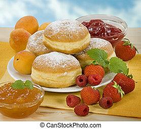 donuts, med, marmelad, fyllande