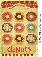 Donuts Menu on vintage background