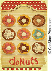 donuts, menu, op, ouderwetse , achtergrond