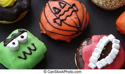 Donuts on wooden background - Set of cakes donut for the...