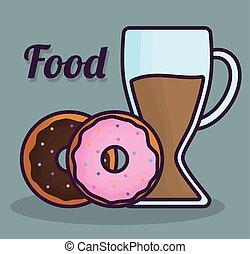 donuts, ontwerp, zoet