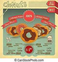 donuts, op, ouderwetse , achtergrond