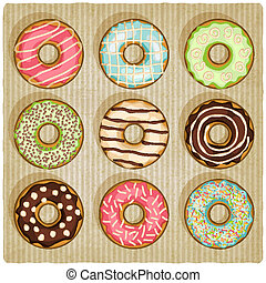 donuts retro striped background - vector illustration